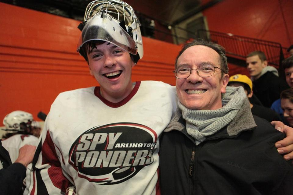 Arlington High goalie  Mike Schiller and his father, Craig,  have plenty to smile about beyond the Spy Ponders' big victory over St. John's Prep last week.